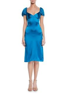 Alexis Cadiz Sweetheart Puff-Sleeve Silk Satin Dress