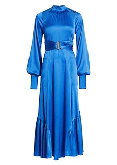 Alexis Calypsa Satin Long-Sleeve Flare Dress