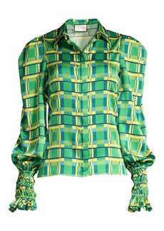 Alexis Catina Checkered Puff Sleeve Blouse