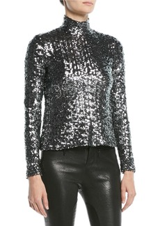 Alexis Celeste Sequin Turtleneck Long-Sleeve Top