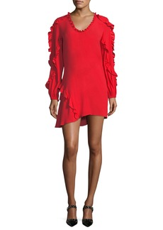 Alexis Ceretti Scoop-Neck Long-Sleeve Ruffled Crepe Dress