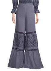 Alexis Elizabeth Wide-Leg Embroidered Pants