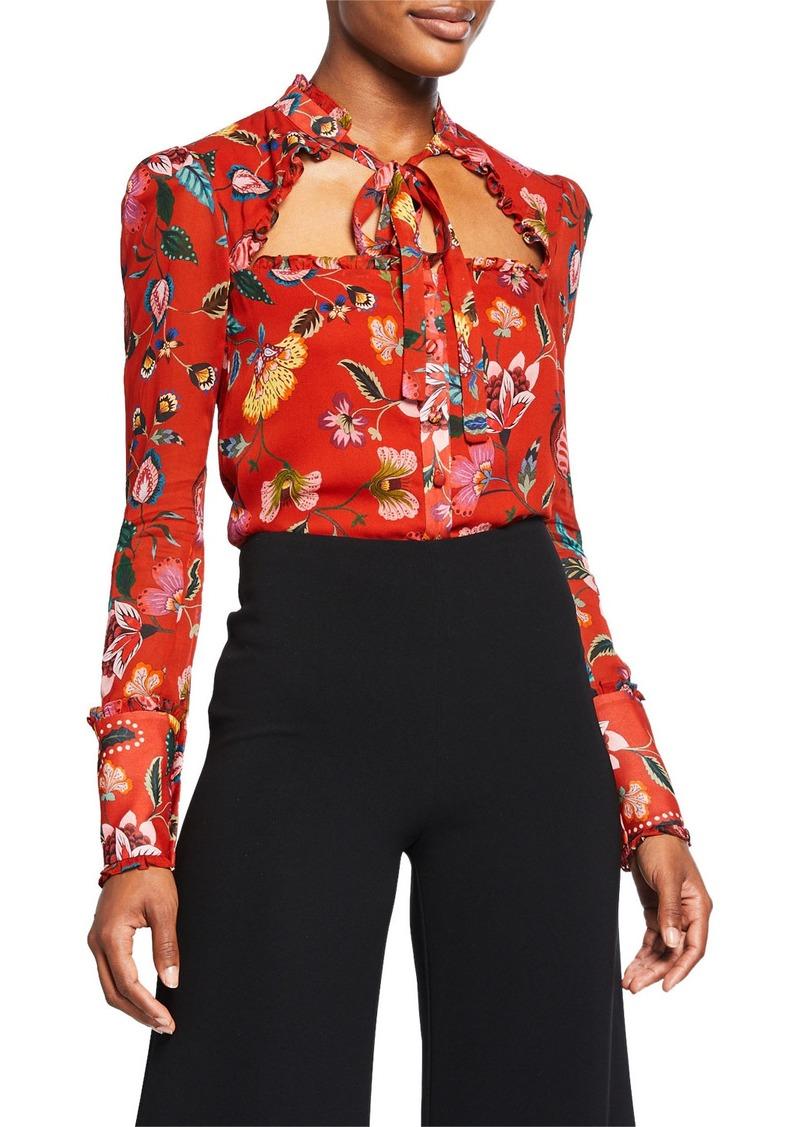 Alexis Elodie Floral Open-Neck Tie Top