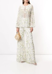 Alexis embellished leaf palazzo trousers