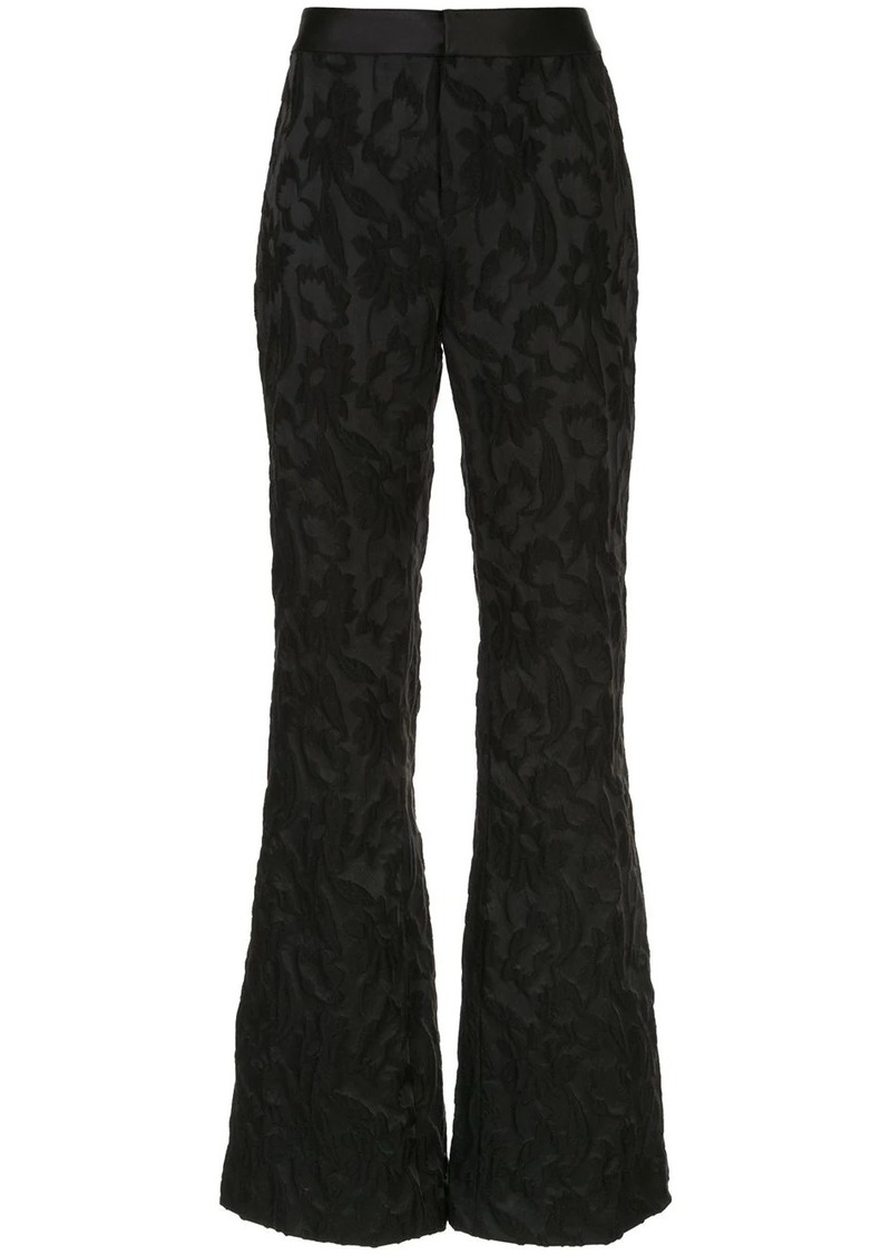 Alexis floral-brocade flared trousers