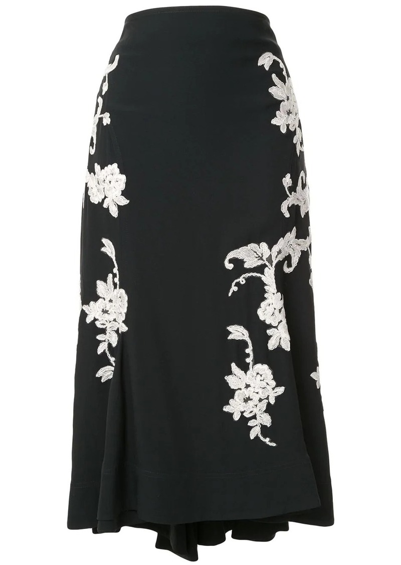 Alexis floral embroidered midi skirt