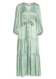 Alexis Fortunia Printed Long-Sleeve Midi Dress