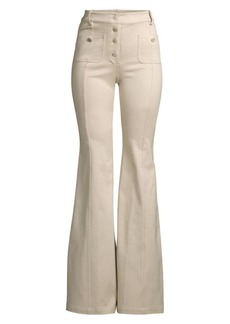 Alexis Helene Flared Stretch-Cotton Pants