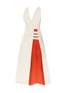 Alexis Ilan Mixed-Media Midi Dress