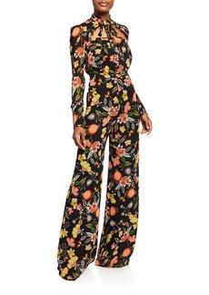 Alexis Imogene Floral Tie-Neck Jumpsuit