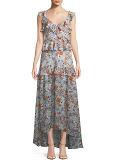 Alexis Jewell Floral Ruffle Maxi Dress