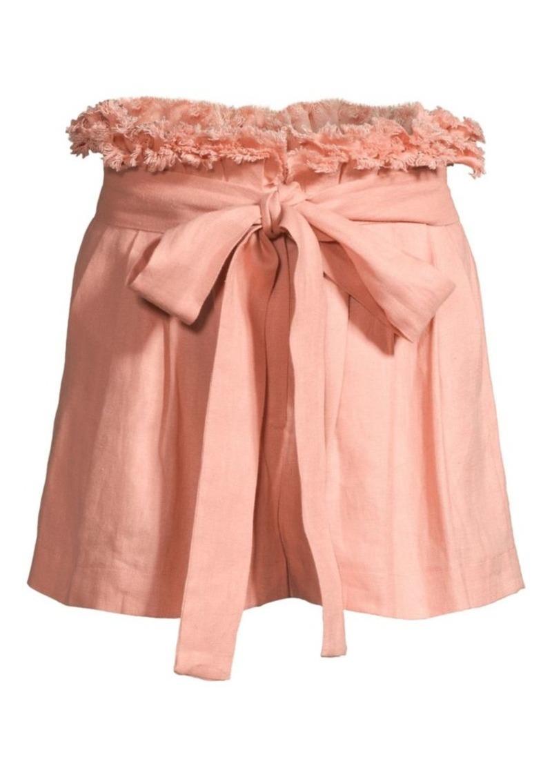 Alexis Jolan Tie-Waist Linen Shorts