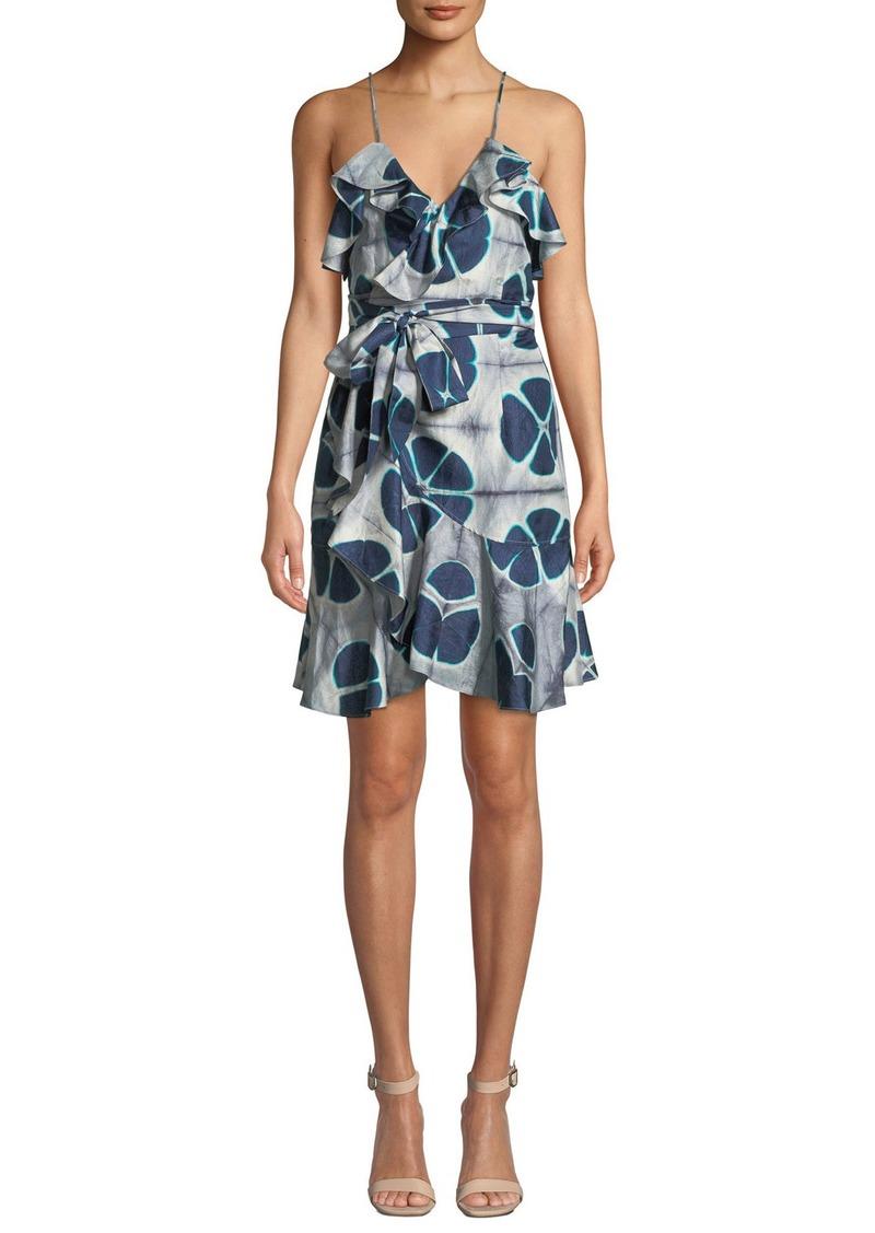 Alexis Kalani Silk Patterned Flounce Self-Tie Dress