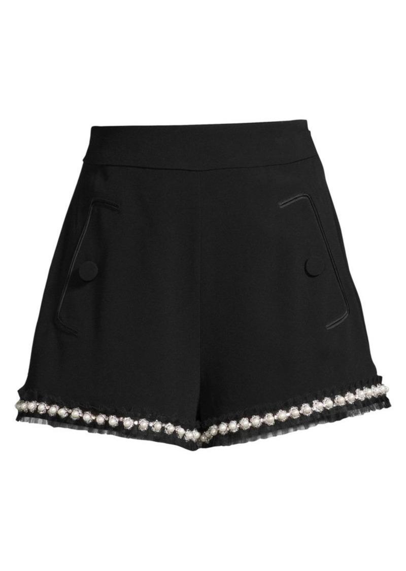 Alexis Kendrick Imitation Pearl-Trim A-Line Shorts