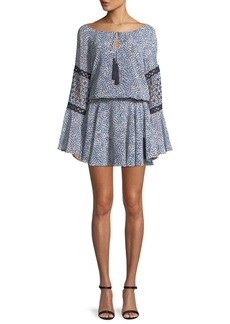 Alexis Lanelle Printed Long-Sleeve Mini Dress