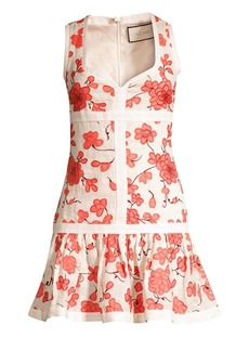 Alexis Lilou Floral Mini Linen Flounce Dress