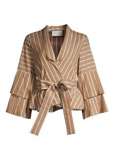 Alexis Lipa Striped Bell Sleeve Tie-Waist Blouse