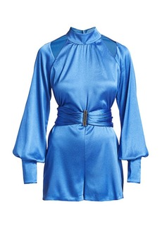 Alexis Lorca Puff-Sleeve Belted Romper