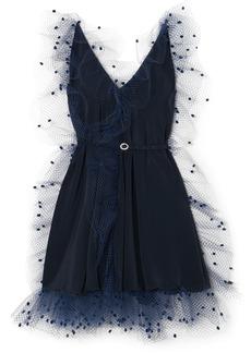 Alexis Mabille Crystal-embellished Belted Voile-trimmed Crepe Mini Dress