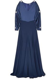 Alexis Mabille Embellished Cold-shoulder Satin Gown