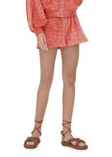 Alexis Matin Animal-Pattern Velour Shorts