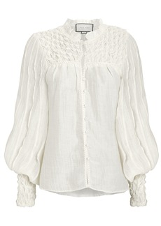Alexis Minelli Smocked Button Front Blouse