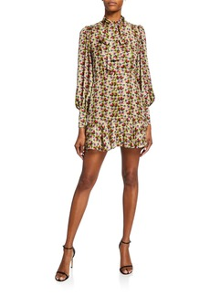 Alexis Mirene Tie-Neck Geo-Print Mini Dress