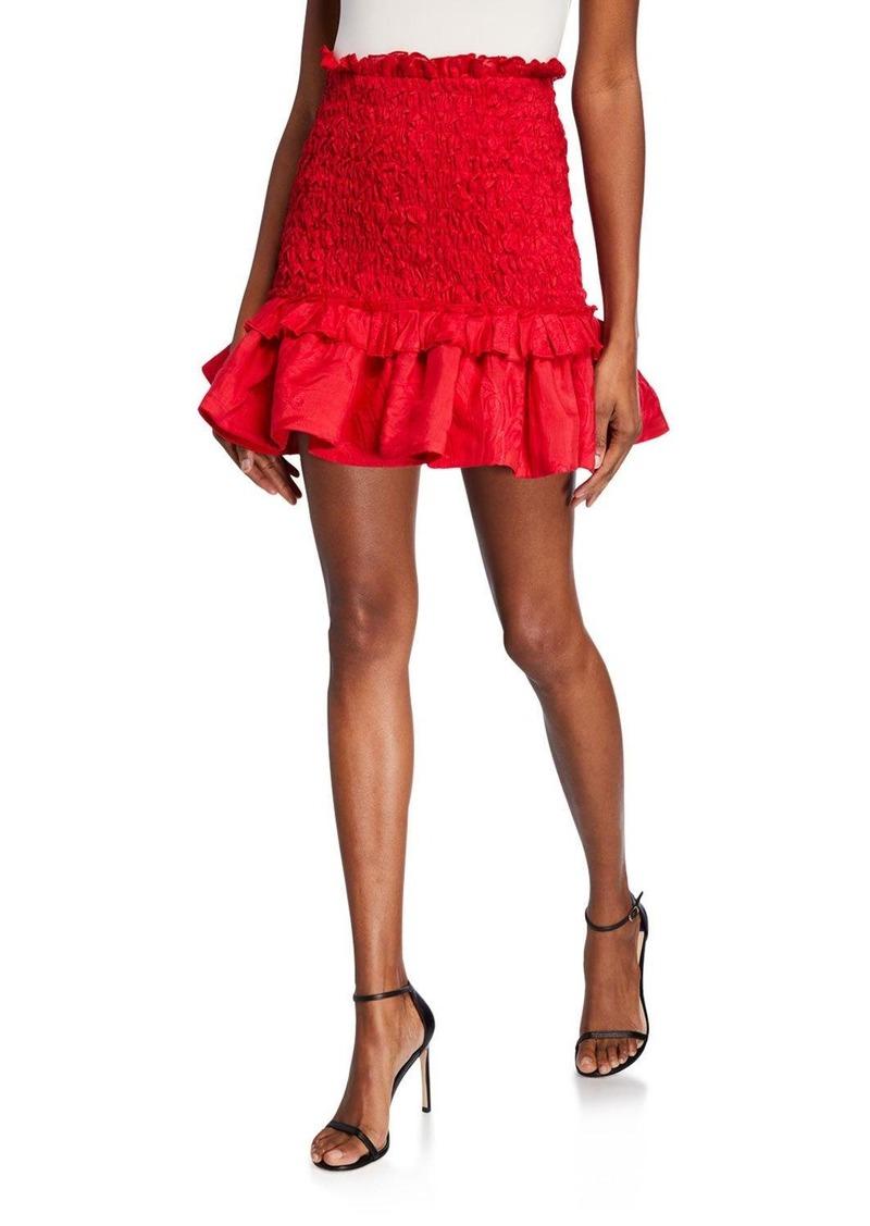 Alexis Nedusa Smocked Flounce Short Skirt