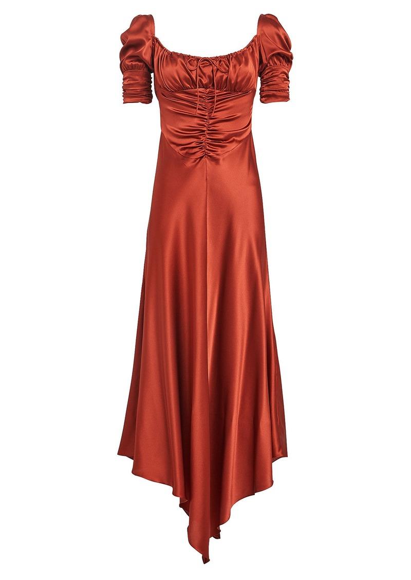 Alexis Noerene Ruched Satin Midi Dress