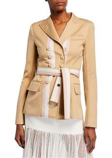 Alexis Nourdine Striped Belted Jacket