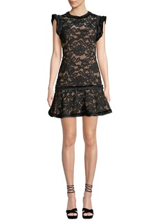 Alexis Raffia Flounce Lace Mini Dress