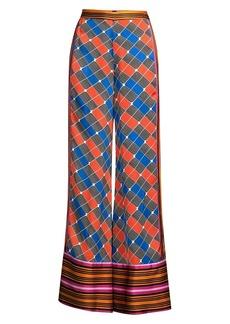 Alexis Roel Colorblock Grid Print Wide-Leg Pants