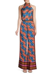 Alexis Roel Colorblock Grid Print Wide-Leg Pants