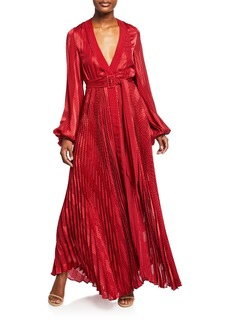 Alexis Salomo Pleated Long-Sleeve Maxi Dress w/ Belt