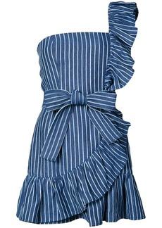 Alexis striped print frill trim one shoulder dress