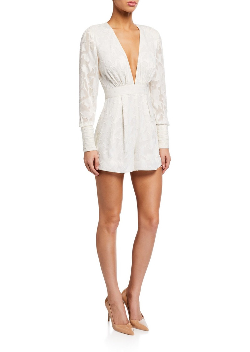 Alexis Theda Plunging Long-Sleeve Romper