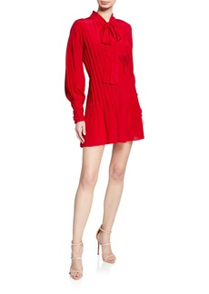 Alexis Theodora Tie-neck Long-Sleeve Pintucked Silk Dress