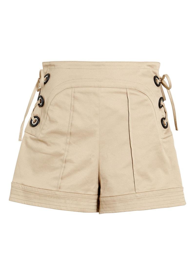 Alexis Winnick Lace-Up Twill Shorts