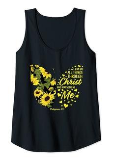 Alexis Womens Cute Sunflower Butterfly Christian Verse Gifts Women Girls Tank Top