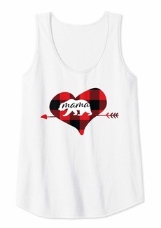 Alexis Womens Mama Bear Red Buffalo Plaid Heart Mother Mom Women Her Gifts Tank Top