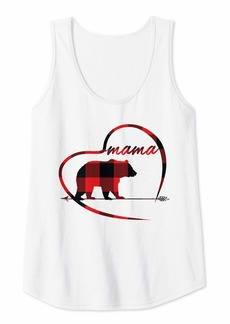 Alexis Womens Mama Bear Red Buffalo Plaid Women Mother Mom Her Gifts Cute Tank Top