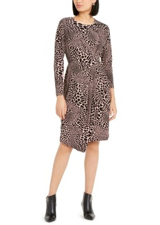 Alfani Alfan Leopard Print Faux-Wrap Dress, Created For Macy's
