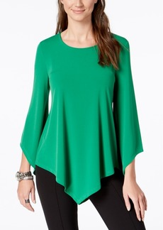 Alfani Petite V-Hem Asymmetrical-Sleeve Top, Created for Macy's