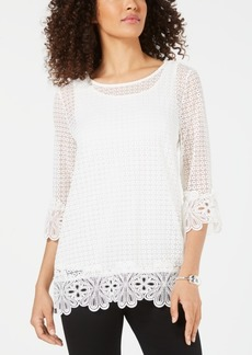 Alfani 3/4-Sleeve Crochet Top, Created for Macy's