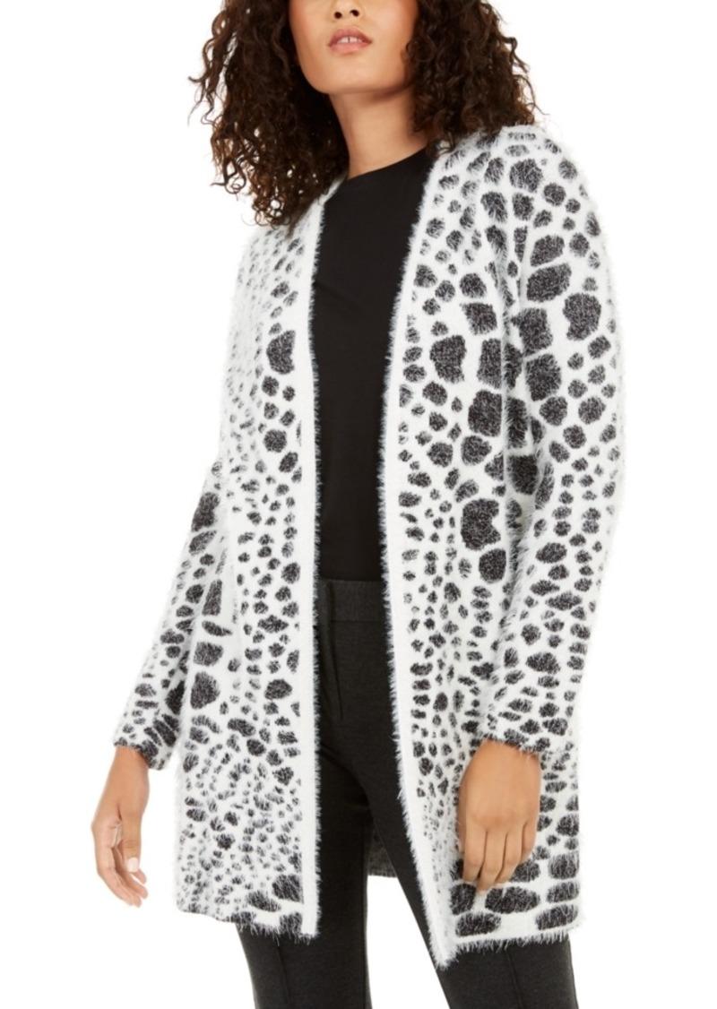 Alfani Animal-Print Eyelash-Texture Cardigan, Created For Macy's