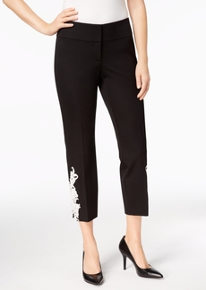 Alfani Petite Lace-Applique Ankle Pants, Created for Macy's