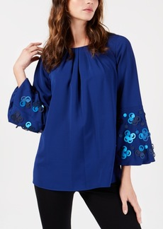 Alfani Applique Bell-Sleeve Blouse, Created for Macy's