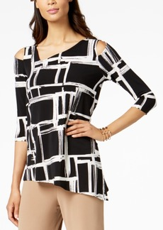 Alfani Petite Printed Cold-Shoulder Asymmetrical Top, Created for Macy's