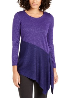 Alfani Asymmetrical Colorblocked Shimmer Top, Created For Macy's