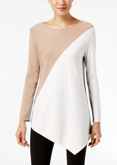 Alfani Asymmetrical Colorblocked Sweater, Only at Macy's